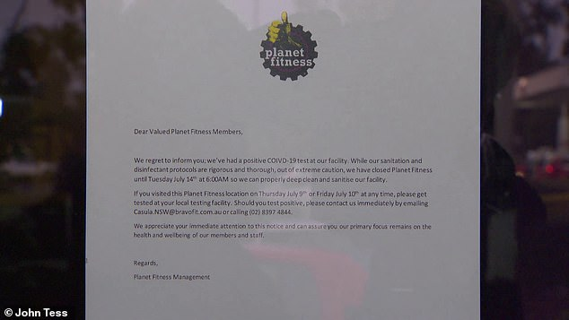 It is unclear at this stage whether the case is related to the pub outbreak. Pictured: a sign on the door of Planet Fitness Casula