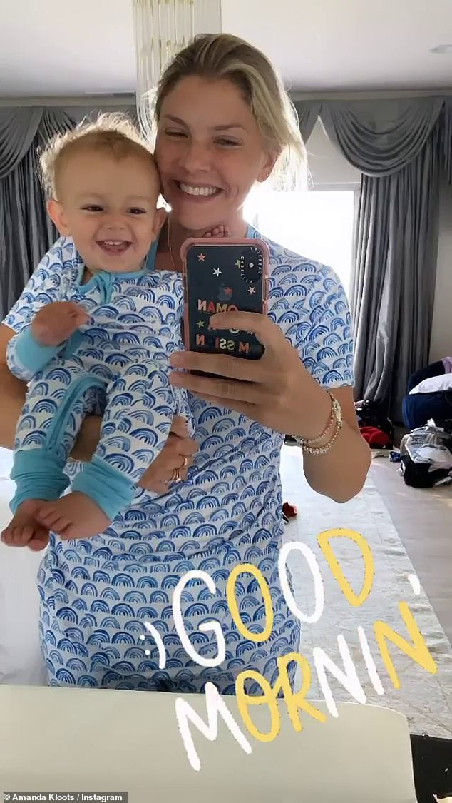 Matching! And the happiness continued for the mother-son-duo, sporting matching pajamas on Sunday morning