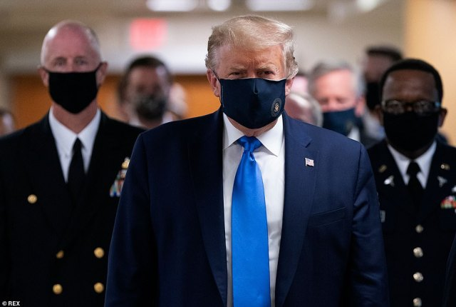 President Donald Trump has emphasized the need to re-open the economy. He has also urged administrators to reopen schools in the fall. Yet even he had to accept the reality of the virus on Saturday, and wear a face mask during a visit to the Walter Reed medical center (pictured)
