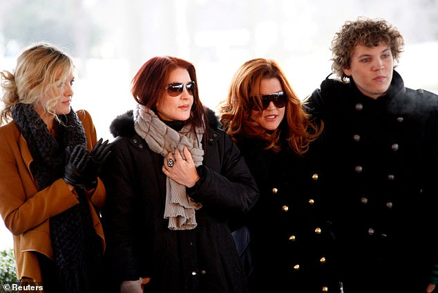 The Presley family of (left to right) Riley Keough, Priscilla Presley, Lisa Marie Presley and Benjamin Keough at Elvis Presley's 75th birthday in Memphis, Tennessee January 8, 2010