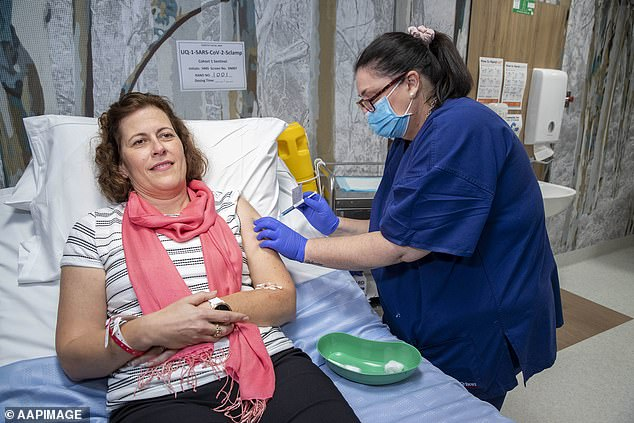 Drug company CSL has partnered with University of Queensland scientists to fast-track the vaccine and make 'several million' antigen doses before the human trials are finished. Pictured: A vaccine volunteer in Brisbane on Monday