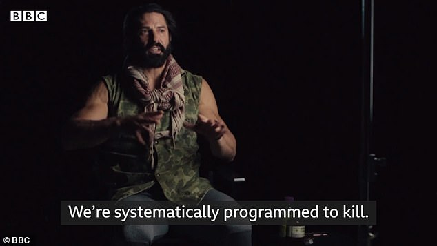 A US Marine who once fought for three weeks 'without sleep' has spoken of how he was 'systematically programmed to kill' and desensitized to violence in the first episode of a BBC documentary series about the Iraq War. Pictured, Sergeant Reyes in the documentary