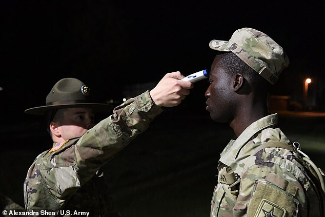 Defense officials have attributed the rise in military cases to increased testing and to the lifting of shelter-in-place orders in some force concentration areas. A solider gets his temperature checked on March 31