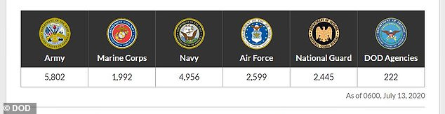 As of Monday the Army has the highest number of cases at 5,802 infections, followed by the Navy with 4,956 cases, the Air Force with 2,599 cases, the National Guard with 2,445 cases and the Marine Corps with 1,992. Department of Defense Agencies have reported 222 cases