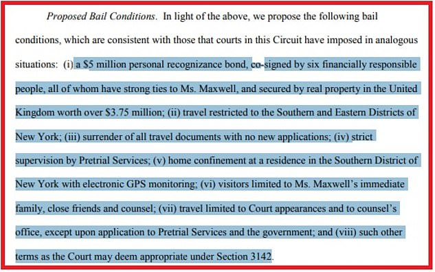 Her bail request (pictured) was filed in the US District Court in Manhattan and claims she was not 'hiding' from authorities, is not a flight risk and is at risk of contracting COVID-19 if she continues to be held in the Brooklyn jail