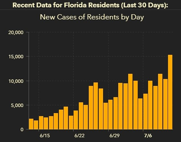 Florida smashed record number of coronavirus cases on Sunday, reporting more than 15,000 new positive tests (far right; Monday's data not yet posted)