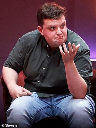 Before: Kieran weighed 129kg when he entered the Big Brother house (pictured on the show)