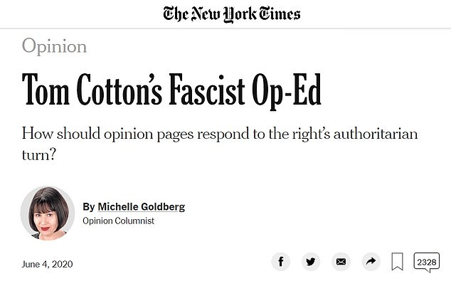 The Times ran a column calling the Senator's op-ed 'fascist' after he called on Trump to use the military to crack down on rioting, looting and violence in the wake of George Floyd's death