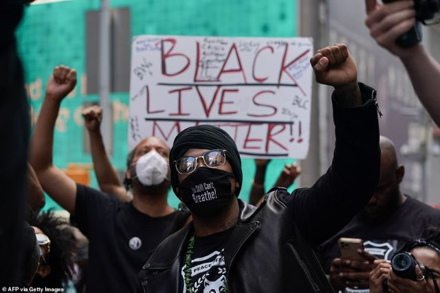 Cannon was photographed holding up a fist along with Black Lives Matter protesters in Times Square last month