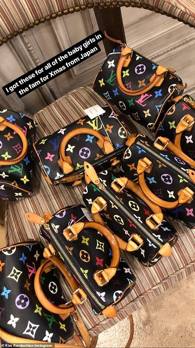 Impressive: Last Christmas, Kim Kardashian gave all the girls in the family their own black Louis Vuitton nano Speedy mini bag