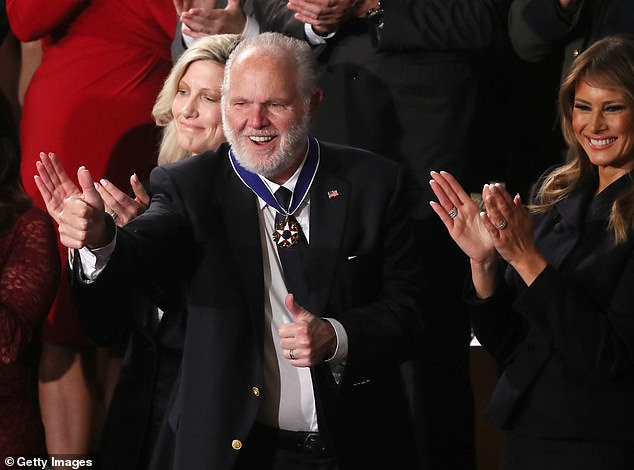 Limbaugh disclosed his lung cancer diagnosis in February. President Trump awarded him the Medal of Freedom the following day (above), the nation¿s highest civilian honor. In the months that followed, as the pandemic began ravaging the county, Limbaugh made a number of controversial outbursts or unequivocally untrue claims about coronavirus.