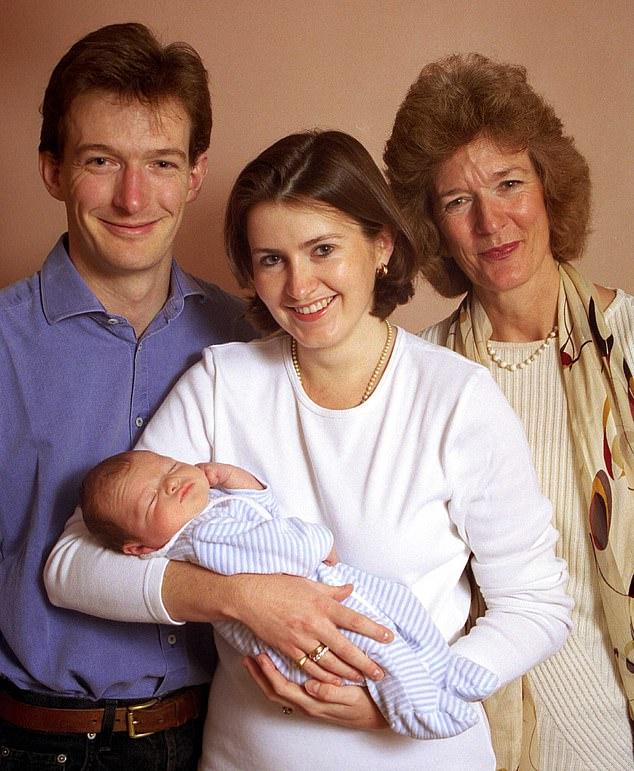 Family: With his wife Lucinda and mother Sara after the birth of her son Henry