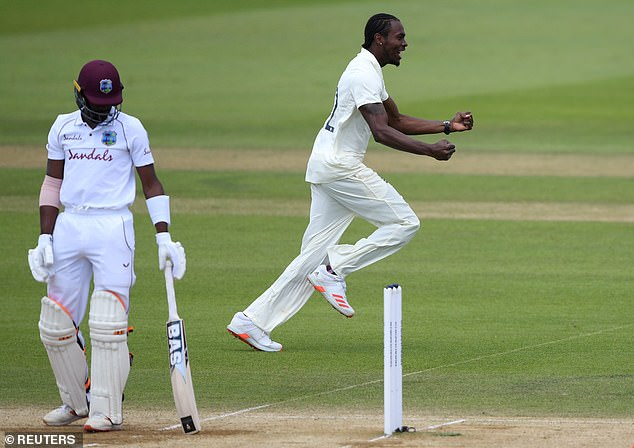 Archer was more effective with the ball in the West Indies' second innings at the Ageas Bowl, here celebrating the wicket of Shamarh Brooks