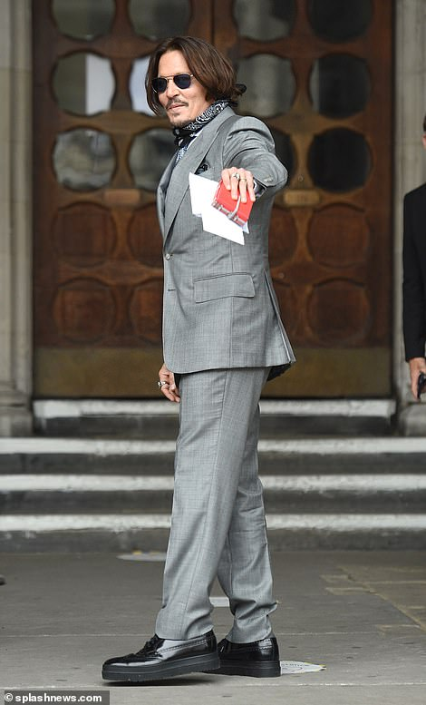 Johnny Depp arrives at the Royal Courts of Justice today