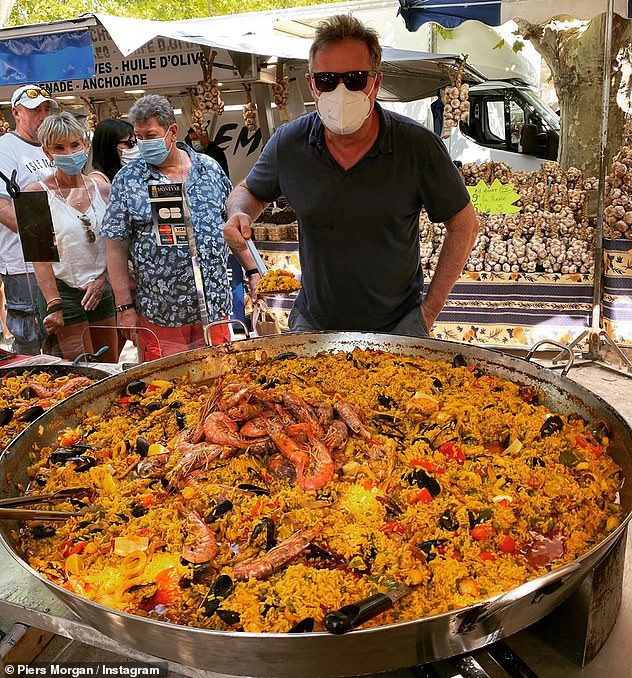 Wow!  Piers has certainly moved into his new summer adode in France, because he also shared a photo of a huge plate of paella on Tuesday.