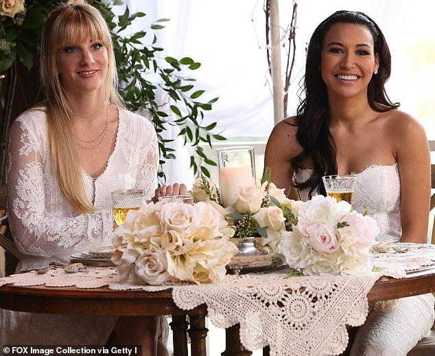 Go back: Heather and Naya are photographed in the 2015 episode of Glee when their respective characters Brittany and Santana get married