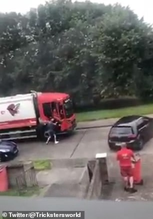 A man attacked workers for the City Bin Company after in a horrifying road rage incident