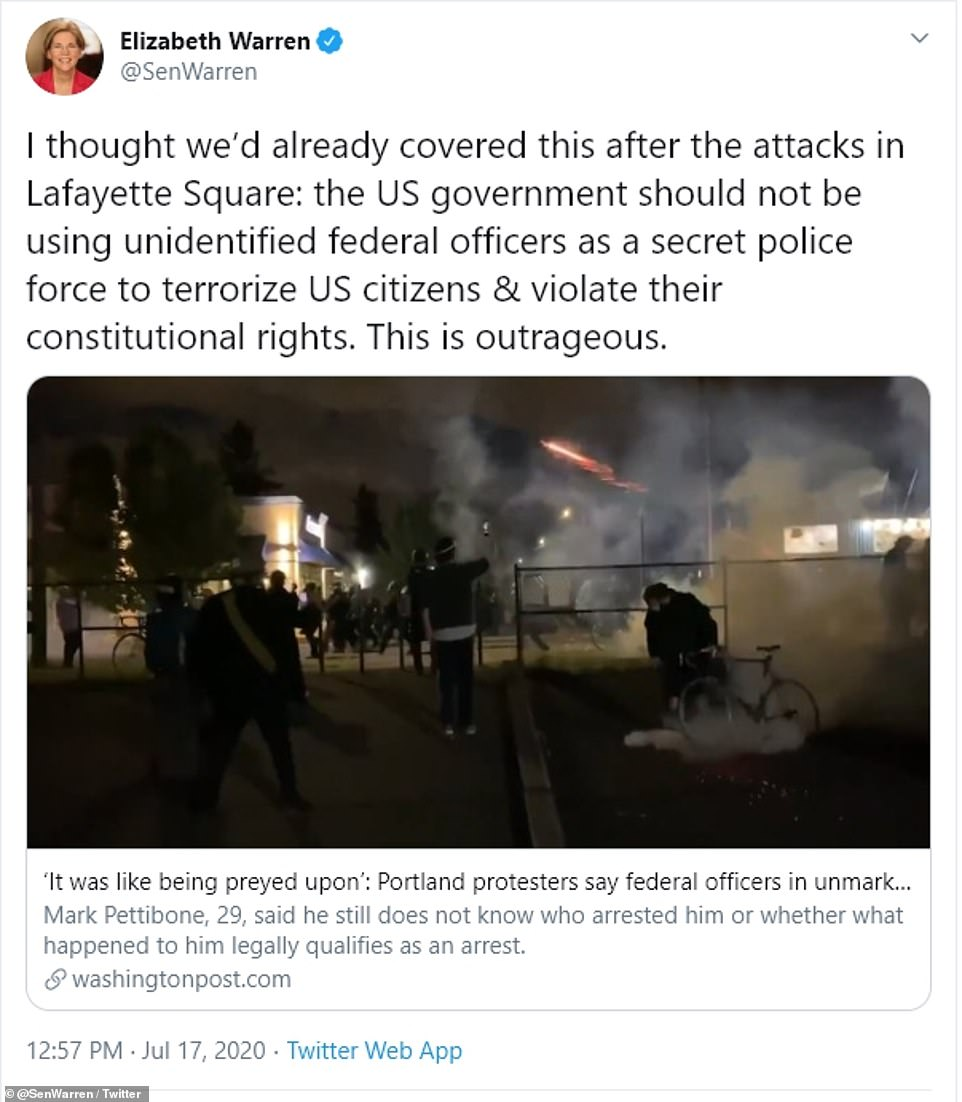 Sen Elizabeth Warren said: 'I thought we'd already covered this after the attacks in Lafayette Square: the US government should not be using unidentified federal officers as a secret police force to terrorize US citizens & violate their constitutional rights'