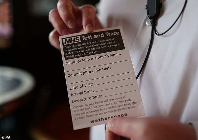 Forms filled in as part of the system to help test and trace people who could be infected
