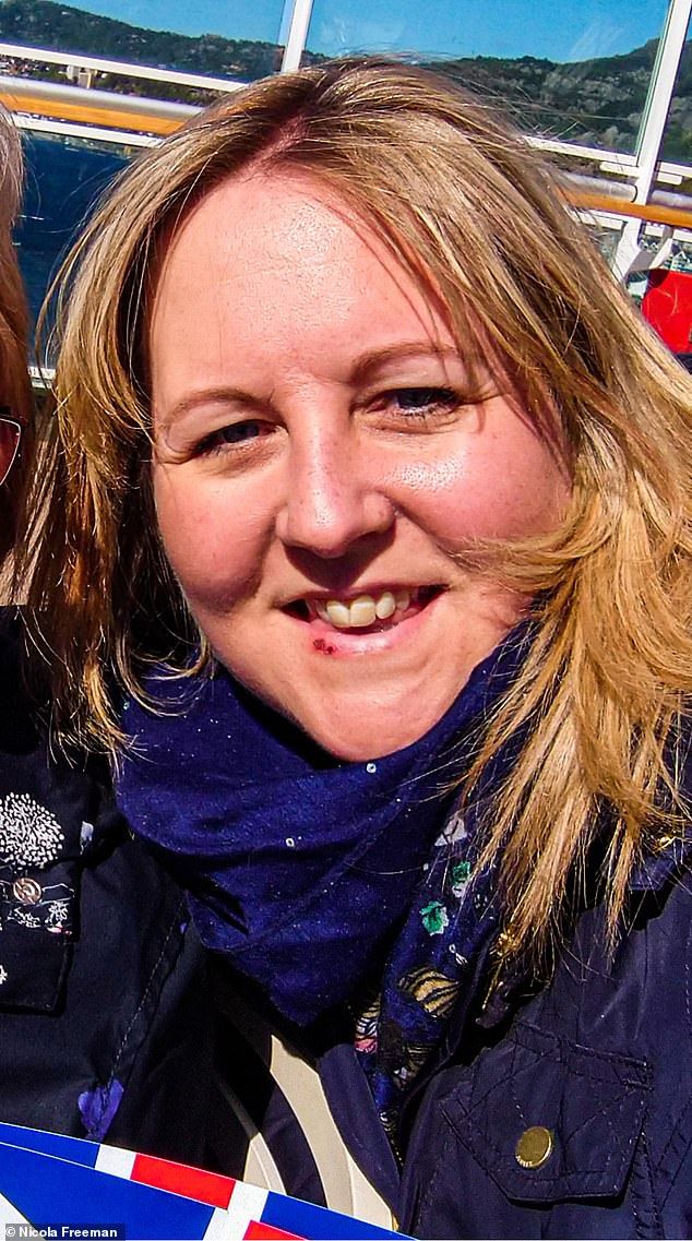 Nicola Freeman, 37, from Hampshire, has suffered with cold sores since her teens but claims she has been cold sore free since she started using LipQ Liquorice Balm in February. Pictured, with a cold sore in November 2019