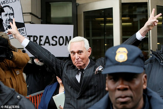 Stone leaving court on February 1, 2019, after a status hearing in his case