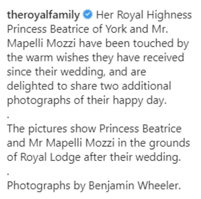 Alongside the photographs, the palace penned: 'Her Royal Highness Princess Beatrice of York and Mr. Mapelli Mozzi have been touched by the warm wishes they have received since their wedding, and are delighted to share two additional photographs of their happy day' (pictured)