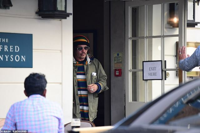 Depp leaving the pub on Sunday. He finished giving evidence at his libel trial last Monday after some 20 hours in the witness box