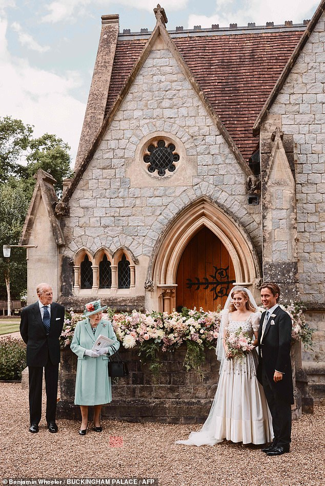 The Queen, 94, the Duke of Edinburgh, 99, and the bride's parents Prince Andrew and the Duchess of York were among the 'close family' in attendance. Pictured, Princess Beatrice and Edoardo Mapelli Mozzi with the bride's grandparents the Queen and Prince Philip