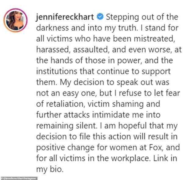 The full caption on Eckhart's Instagram post is shown above