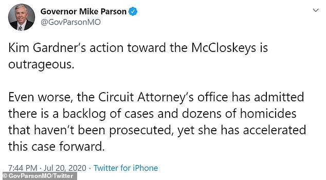 A tweet posted by Missouri Governor Mike Parson Monday criticized a move to file charges against the McCloskeys as St. Louis faced a backlog of cases and 'dozens of homicides' that haven't been prosecuted