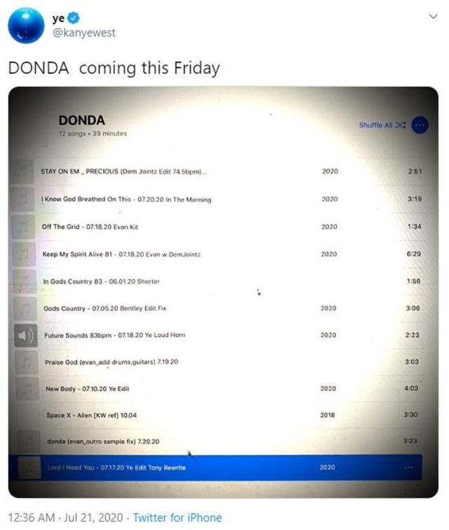 Later in the evening, West would go on to tweet that his album, DONDA, name for his mother, would be released on Friday