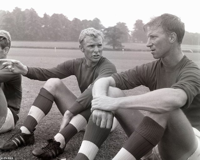 Jack Charlton chats with Bobby Moore while England train for the 1966 World Cup at Lilleshall inShropshire