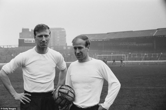 While Bobby Charlton (right) became a star at Manchester United, Jack (left) remained rooted in his North East working-class origins. They are pictured together in April 1965