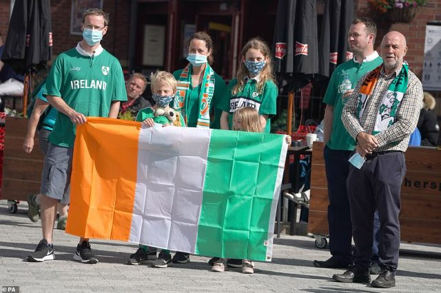 The Wilson family stand in Ashington today to pay tribute to Jack Charlton's work with the Republic of Ireland national team