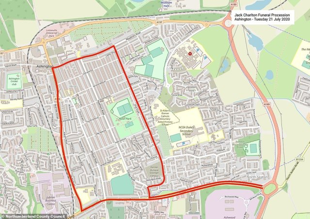 The funeral cortege will leave Jack Charlton's home and slowly pass through Ashington today on the route shown above