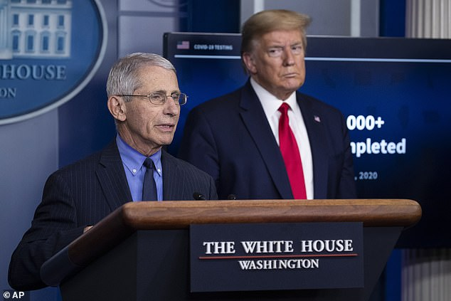 In this April 17, 2020, file photo Dr. Anthony Fauci, director of the National Institute of Allergy and Infectious Diseases, about the coronavirus, as President Donald Trump listens, in the James S. Brady Press Briefing Room of the White House in Washington