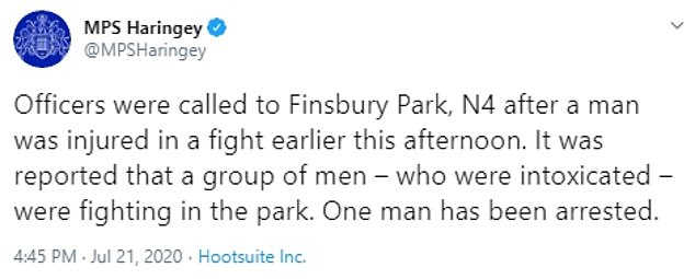 Metropolitan Police said a group of men were drunk and fighting in the park this afternoon