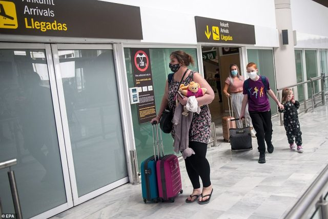 Passengers arriving in Lanzarote have to wear face masks while making their way through the airport. Anyone showing Covid symptoms is tested and risk being placed into quarantine