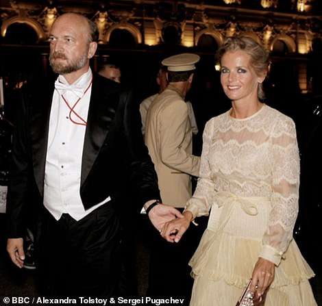 The aristocratic beauty, 46, the daughter of Count Nikolai Tolstoy and ex-partner of Russian billionaire Sergei Pugachev, 57, revealed in May she was given just 12 days notice during the coronavirus outbreak. Pictured: Alexandra Tolstoy, 45, and Sergei Pugachev, 57, in happier times.