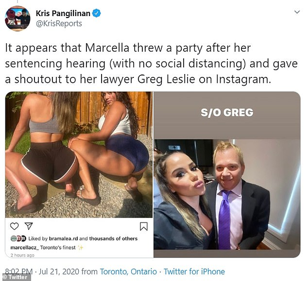 Zoia was filmed popping champagne and twerking with friends, as local reporters noted that she did not meet social distancing requirements during her celebrations.