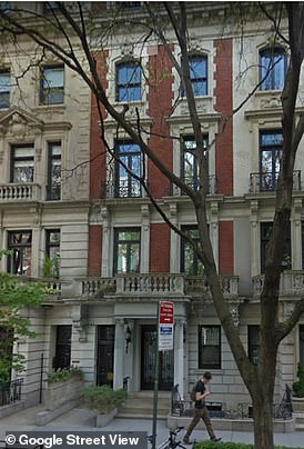 The picture, unseen until now, was taken on January 6, 2015 as a DHL delivery truck was unloading parcels at Maxwell's Manhattan townhouse (pictured), just seven city blocks from the huge home where Epstein lived and abused dozens of young girls