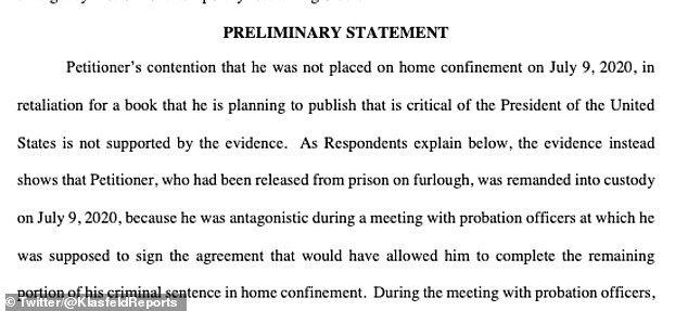 Court documents filed in the Southern District of New York (SDNY) Wednesday have hit back at Cohen's claims he was imprisoned in retaliation for writing a book, saying it 'is not supported by the evidence'