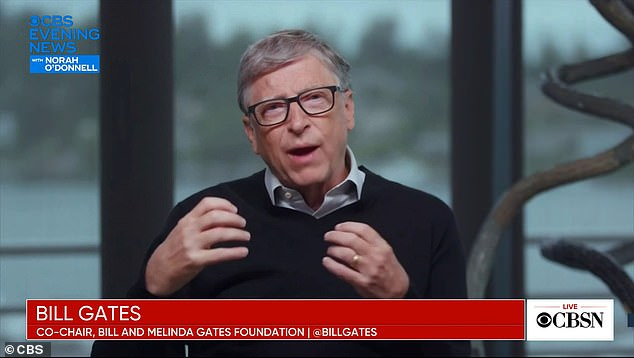 Bill Gates appeared on CBS News on Wednesday evening to discuss COVID-19