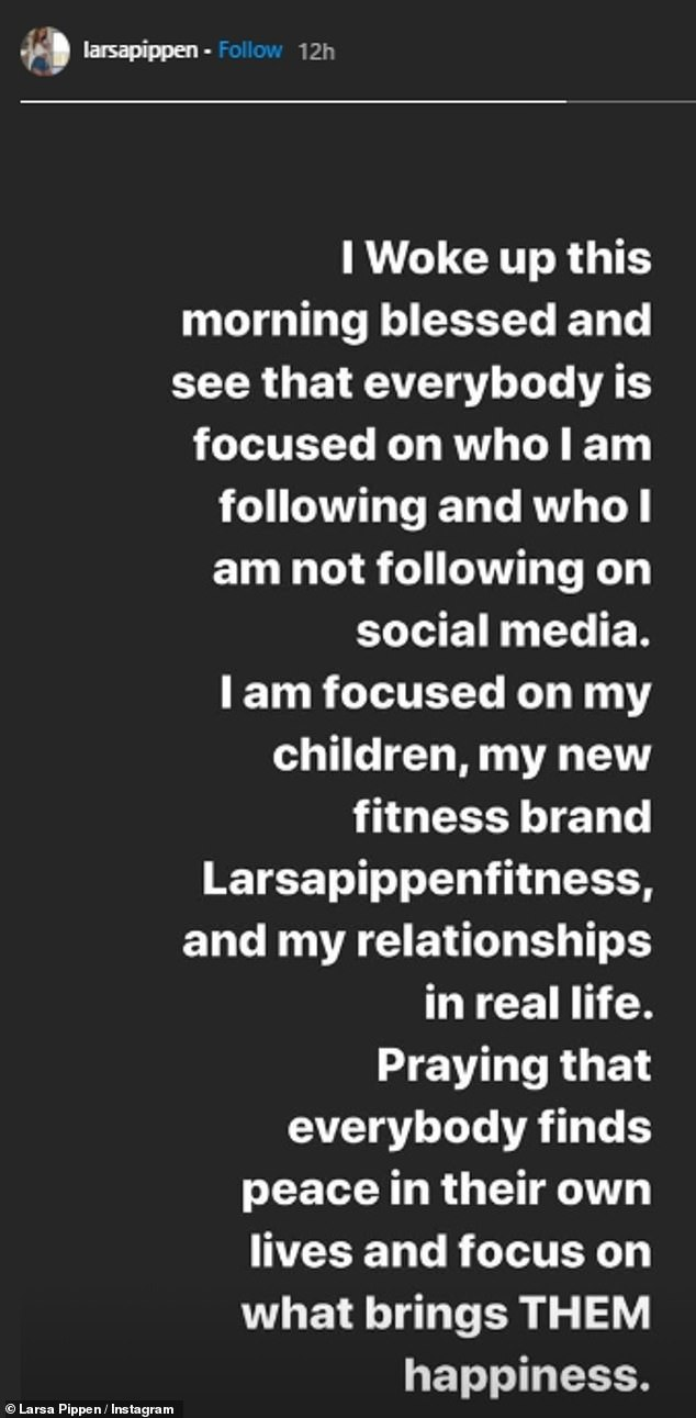 Bold statement: Larsa shared a message stating that she was praying for everybody