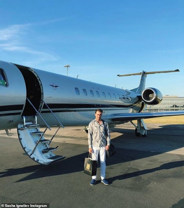 Sasha travels to the luxury destinations in private planes, documented with his more modest following of 2,300 people on Instagram