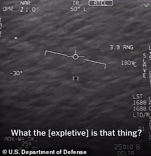 In April 2020 the Pentagon released footage from three sightings of unidentified objects. One of the videos was captured off the coast of Jacksonville, Florida, in 2015 (pictured)