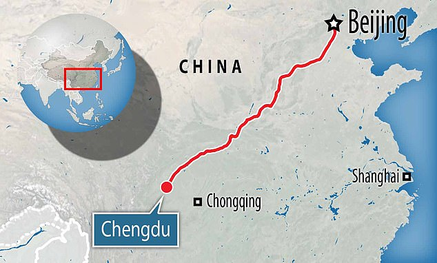 Chengdu, a major city in western China, is more than 1,680 miles from the capital city Beijing