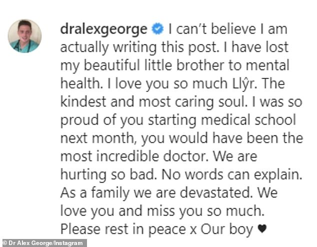Moving: In his emotional post that his brother had 'kindest and most caring soul. I was so proud of you starting medical school next month, you would have been the most incredible doctor'