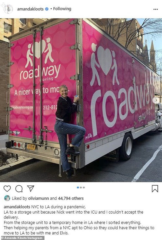 On the road: On Thursday, she shared a photo of herself looking ebullient with a moving truck as she began her long trek to her new West Coast home