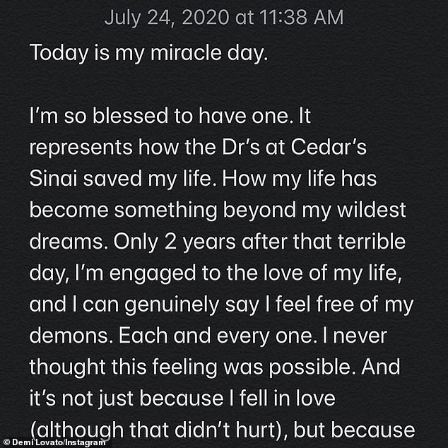 Retrospective: `` Today is my miracle day, '' she began, noting that it was the second anniversary of her emergency transport to hospital after an overdose.